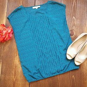 (LOFT) Green Paisley Sleeveless Top - Like New!